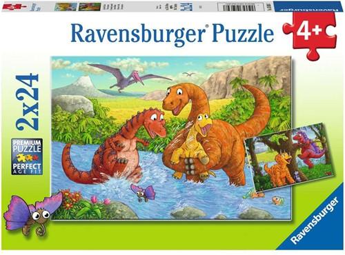 Spelende Dino's Puzzel (2x24 stukjes)