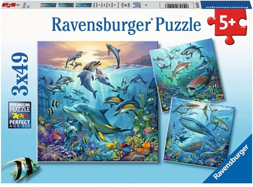 Dieren in de Oceaan Puzzel (3 x 49 stukjes)