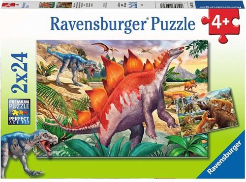 Wilde Oertijddieren Puzzel (2 x 24 stukjes)
