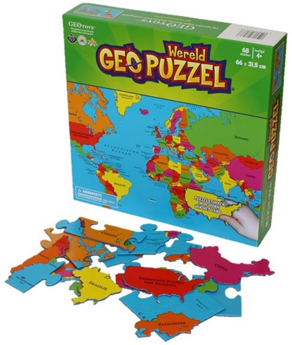 GeoPuzzel Wereld (68 stukjes)