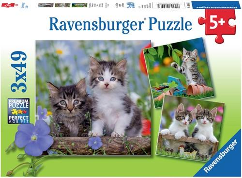 Jonge Katjes Puzzel (3 x 49 stukjes) (doos beschadigd)
