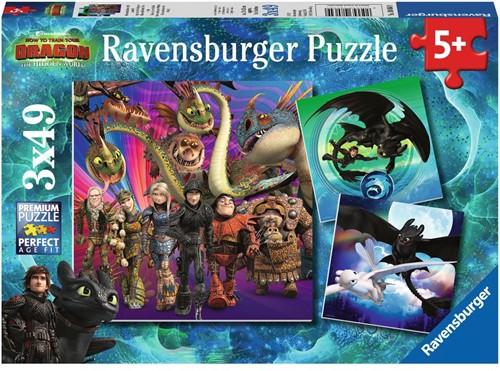 Dragons 3 Puzzel (3x49 stukjes)