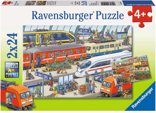 Drukte Op Het Station Puzzel (2x24 stukjes)