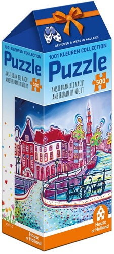 1001Kleuren - Amsterdam bij Nacht Puzzel (500 stukjes)-1