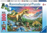 Bij de Dinosaurussen XXL Puzzel  (100 stukjes)-1
