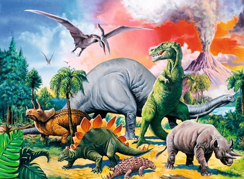 Tussen De Dinosauriërs Puzzel (100 stukjes)-2