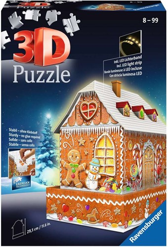 3D Puzzel - Gingerbread House Night Edition (216 Stukjes)