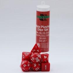 Polydice Dobbelstenen 16mm - Rood (7 stuks)