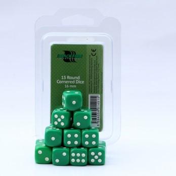 Dobbelstenen 16mm - Groen (15 stuks)