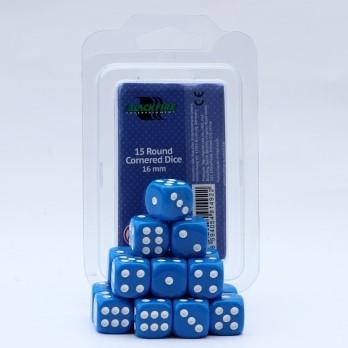 Dobbelstenen 16mm - Blauw (15 stuks)