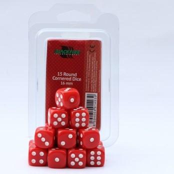 Dobbelstenen 16mm - Rood (15 stuks)