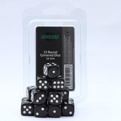 Dobbelstenen 16mm Zwart (15 stuks)