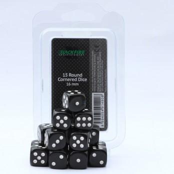 Dobbelstenen 16mm - Zwart (15 stuks)