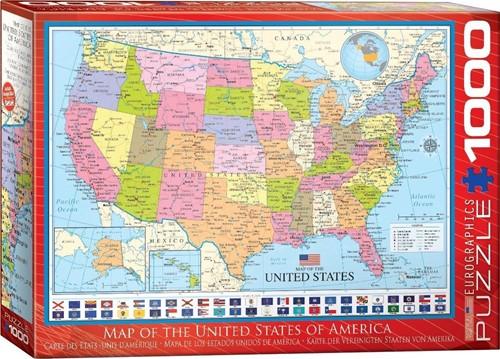 Map of the USA Puzzel (1000 stukjes)