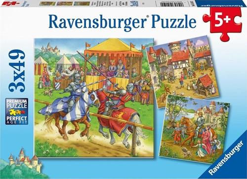 Riddertoernooi in de Middeleeuwen Puzzel (3 x 49 stukjes)