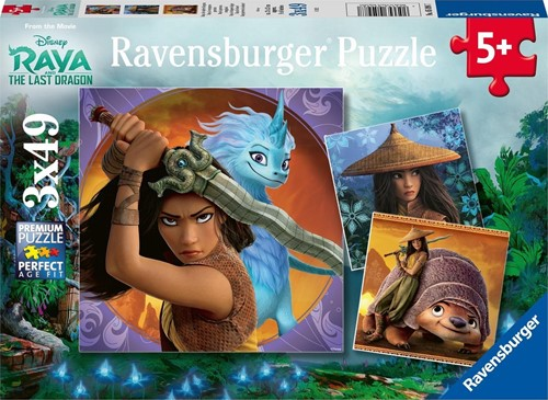 Raya, de Dappere Krijger Puzzel (3 x 49 stukjes)