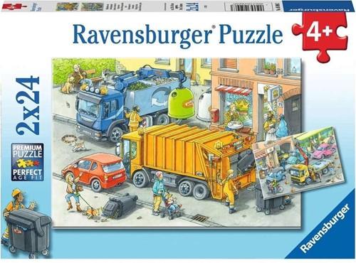 Vuilniswagen en Sleepwagen Puzzel (2 x 24 stukjes)