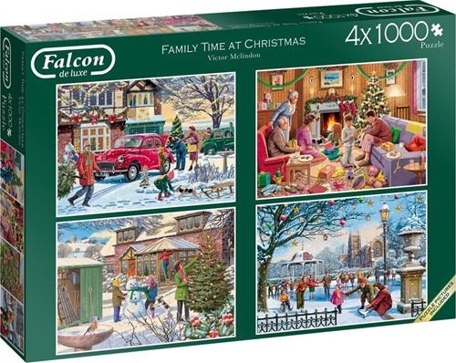Falcon - Family Time at Christmas Puzzel (4 x 1000 stukjes)