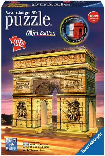 3D Puzzel - Arc de Triomphe - Night Edition (216 stukjes)