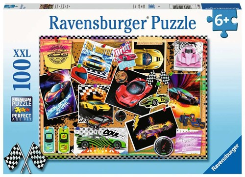 Prikbord met Raceauto's Puzzel (100 XXL stukjes)
