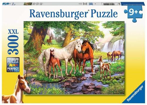 Wilde Paarden bij de Rivier Puzzel (300 XXL stukjes)