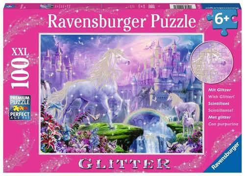 Koninkrijk van de Eenhoorns Glitter Puzzel (100 XXL stukjes)