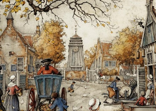 Anton Pieck - Het Dorpsplein Puzzel (1000 stukjes)-2