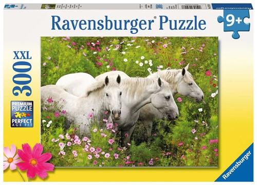 Paarden in Veld Bloemen Puzzel (300 XXL stukjes)