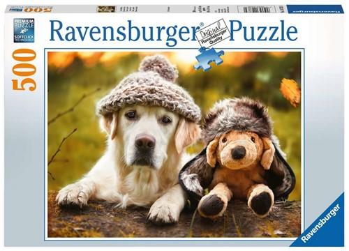 Hond met Muts Puzzel (500 stukjes)
