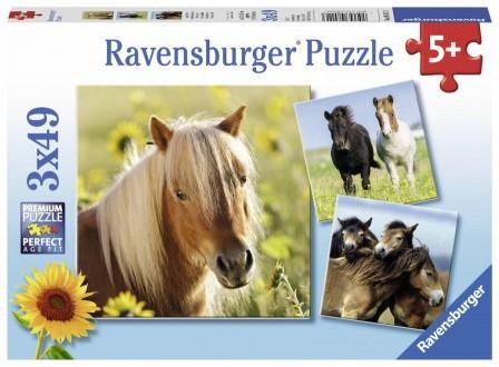 Schattige Pony's Puzzel (3 x 49 stukjes)