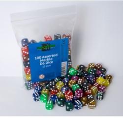 Marble Dobbelstenen 12mm - Assorti (100 stuks)