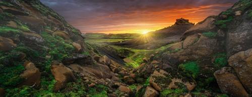 Zon over IJsland - Panorama Puzzel (1000 stukjes)-2