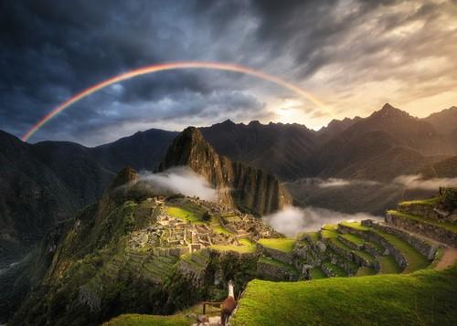 Regenboog bij Machu Picchu Puzzel (1000 stukjes)-2