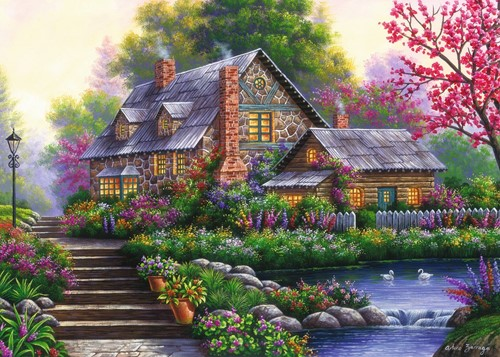 Romantische Cottage Puzzel (1000 stukjes)-2