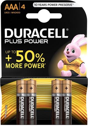 Duracell Batterijen Plus Power AAA MN2400 / LR03 (4 stuks)
