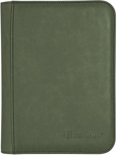Zippered Suede 4-Pocket Premium Pro-Binder - Emerald