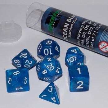 Polydice Marble Dobbelstenen 16mm - Ocean Blue (7 stuks)