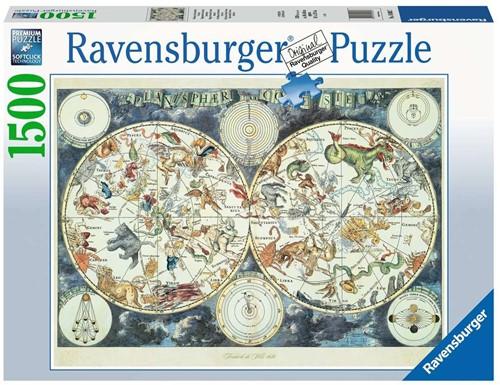 Wereldkaart met Fantastierijke Dieren Puzzel (1500 stukjes)