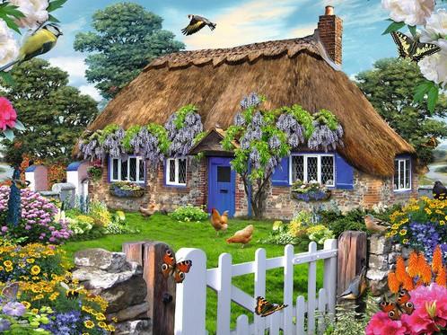 Cottage in England Puzzel (1500 stukjes)-2