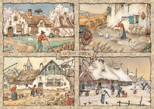 Anton Pieck - 4 Seizoenen Puzzel (1000 stukjes)-2