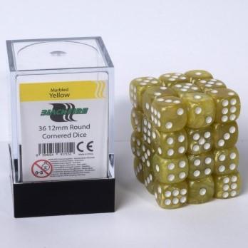 Marble Dobbelstenen 12mm - Geel (36 stuks)