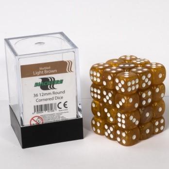 Marble Dobbelstenen 12mm - Lichtbruin (36 stuks)