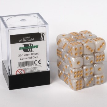 Marble Dobbelstenen 12mm - Wit/Goud (36 stuks)