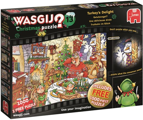 Wasgij Christmas Puzzel 13 - Geluksvogel (2x1000 stukjes)-1