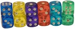 Gekleurde Dobbelstenen (set van 12 stuks)