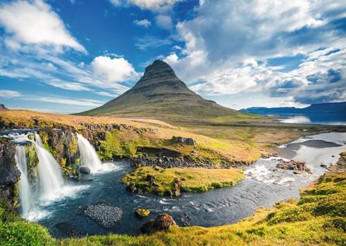 Waterval voor Kirkjufell Puzzel (1000) (Doos beschadigd)-2