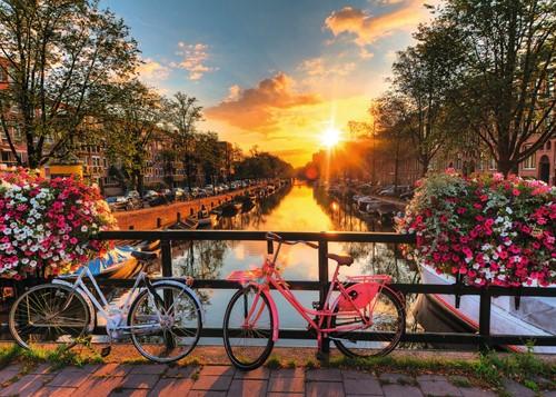 Fietsen in Amsterdam Puzzel (1000 stukjes)-2