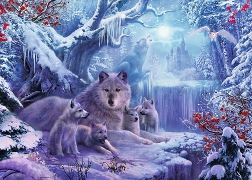 Wolven in de Winter Puzzel (1000 stukjes) (Doos ingedeukt)-2