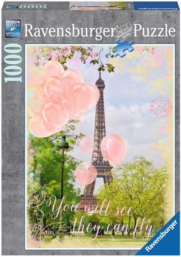 Balonnen bij de Eiffeltoren Puzzel (1000 stukjes)-1