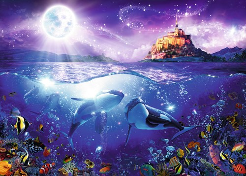 Walvissen in de Maneschijn Puzzel (1000 stukjes)-2